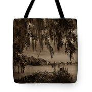 Live Oak Tree Spanigh Moss Sepia Silhouette Tote Bag