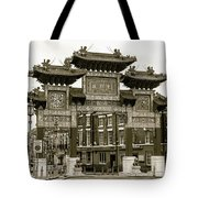 Liverpool Chinatown Arch, Gate Sepia Tote Bag