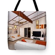 Living Room With Sloping Ceiling Tote Bag