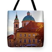 Ljubljana Church And Square Sunset View Tote Bag