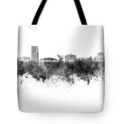 Ljubljana Skyline In Black Watercolor On White Background Tote Bag