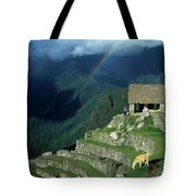 Llama And Rainbow At Machu Picchu Tote Bag