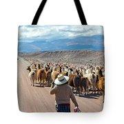 Llama Herd On Road Tote Bag