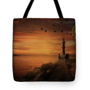 Llight House By Moonlight Tote Bag