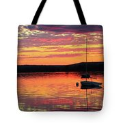 Loan Boat On A River At Sunset Tote Bag