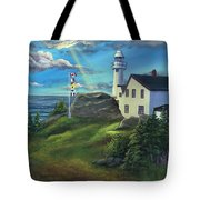 Lobster Cove Head Lighthouse, Rocky Harbour, Nl Tote Bag