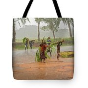 Local People Crossing The Road In Malawi Tote Bag