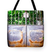 Locked Gate With Trees Tote Bag