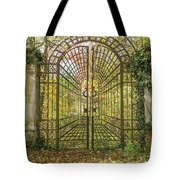 Locked Iron Gate In The Autumn Park.  Tote Bag