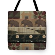 Lodge Cabin Quilt Tote Bag