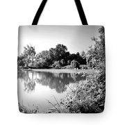Lodi Pig Lake Reflections B And W Tote Bag