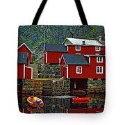 Lofoten Fishing Huts Oil Tote Bag