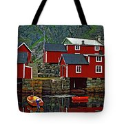 Lofoten Fishing Huts Oil Tote Bag
