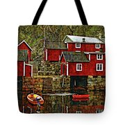 Lofoten Fishing Huts Overlay Version Tote Bag