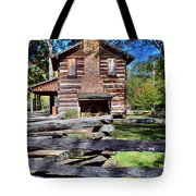 Log Cabin And Wooden Fence At Ninety Six National Historic Site 2 Tote Bag