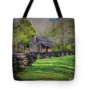 Log Cabin, Smoky Mountains, Tennessee Tote Bag
