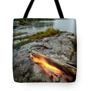 Log On Fire Manitoba Lake Wilderness Tote Bag