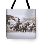 Log Wagon Historical Vignette Tote Bag