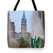 Logan Circle Fountain With City Hall In Backround 3 Tote Bag