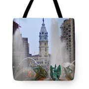 Logan Circle Fountain With City Hall In Backround 4 Tote Bag by Bill Cannon