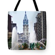 Logan Circle Fountain With City Hall In Backround Tote Bag by Bill Cannon