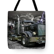 Logger On A Stormy Night Tote Bag