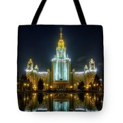 Lomonosov Moscow State University At Night Tote Bag by Alexey Kljatov