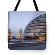 London City Hall And Tower Bridge. Tote Bag
