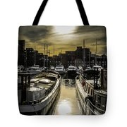 London. St. Katherine Dock. Into The Sun. Tote Bag