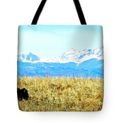 Lone Buffalo Watching The Rocky Mountains Tote Bag