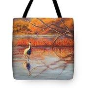 Lone Crane Still Water Tote Bag