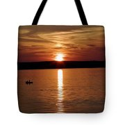 Lone Fisherman At Sunset Tote Bag