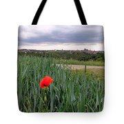 Lone Poppy Amongst Field Of Hops Tote Bag