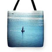Lone Sailboat At Dawn Tote Bag