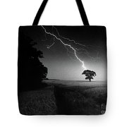 Lone Tree And Lightning Tote Bag