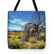 Lone Tree In Blooming Desert Tote Bag