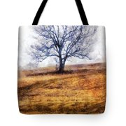 Lone Tree On Hill In Winter Tote Bag