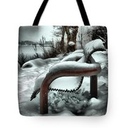 Lonely Bench In Snowfall Tote Bag