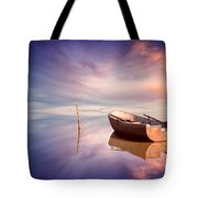 Lonely Boat And Amazing Sunset At The Sea Tote Bag