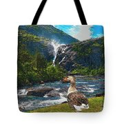 Lonely Near The Waterfall 1 Tote Bag