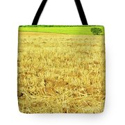 Lonely Tree And Stubble Filed Tote Bag