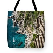 Long And Twisted Walk To The Shore - Azure Magic Of Capri Tote Bag