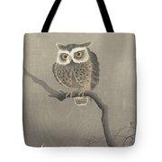 Long-eared Owl On Bare Tree Branch, Ohara Koson, 1900 - 1930 Tote Bag