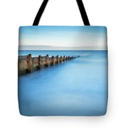 Long Exposure Of Blyth Beach Groyne Tote Bag