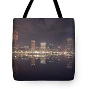 Long Exposure Of The Colorful Baltimore Skyline Tote Bag