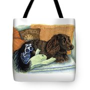 Long-haired Dachshund Watercolor Tote Bag