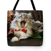 Long Haired Grey And White A Cat Yawns Amid Christmas Wrapping Paper Tote Bag