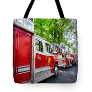Long Line Of Fire Trucks Tote Bag