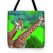 Long Necked Giraffes 3 Tote Bag