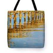 Long Wooden Pier Reflections Tote Bag